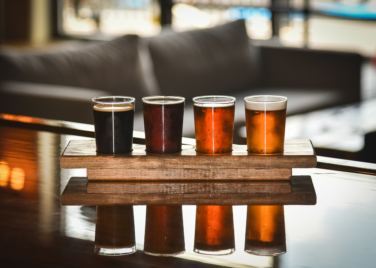 A flight of beer ranging from stouts to ales / Image: Phil Armstrong, Cincinnati Refined // Published: 9.8.17