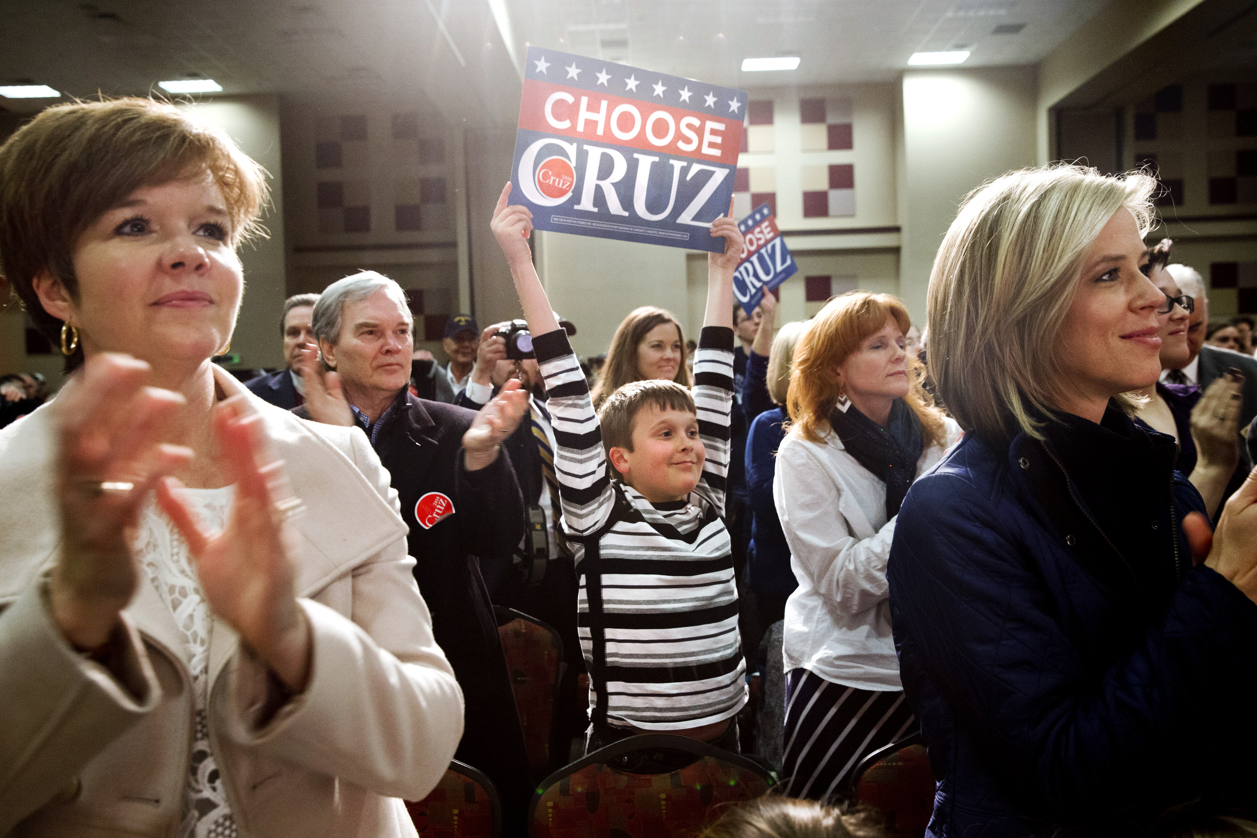 People cheer Republican presidential candidate Sen. Ted Cruz, R-Texas, during his rally at the Southeastern Institute of Manufacturing & Technology in Florence, S.C., Monday Feb. 15, 2016. (AP Photo/Jacquelyn Martin)
