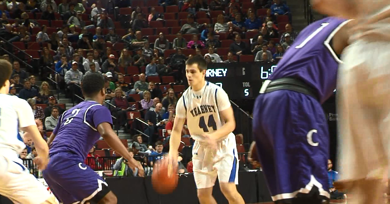 Kearney High's Kanon Koster prepares to drive into the lane during a game at the state tournament. (NTV News)