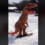 T-Rex Tennessee Snow Day: Dino goes snowboarding, sledding, gets tackled by dog