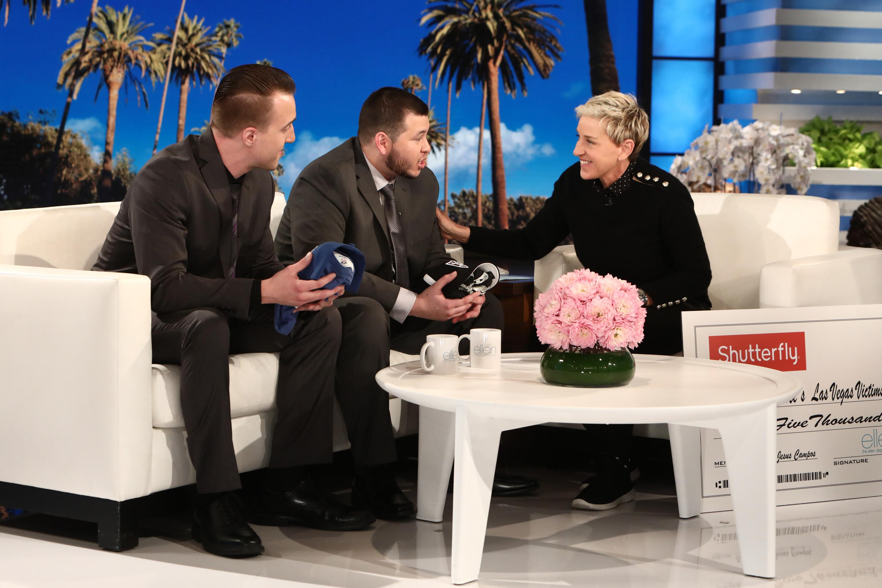"Ellen surprises Jesus with Raiders season tickets once the team moves to Las Vegas and Stephen with a trip to meet the Indianapolis Colts as well as VIP tickets to a gameÂ?(Courtesy:Â?""The Ellen DeGeneres Show""Â?andÂ?Michael Rozman/Warner Bros.)"