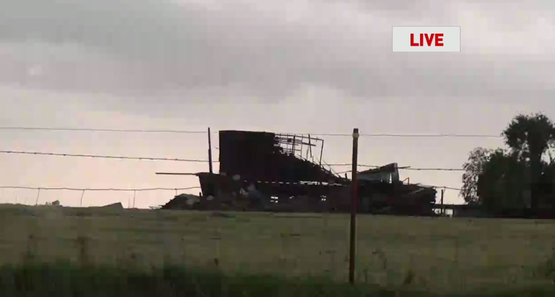 Storm damage May 18 south of Cordell. (KOKH/Mike Williams)