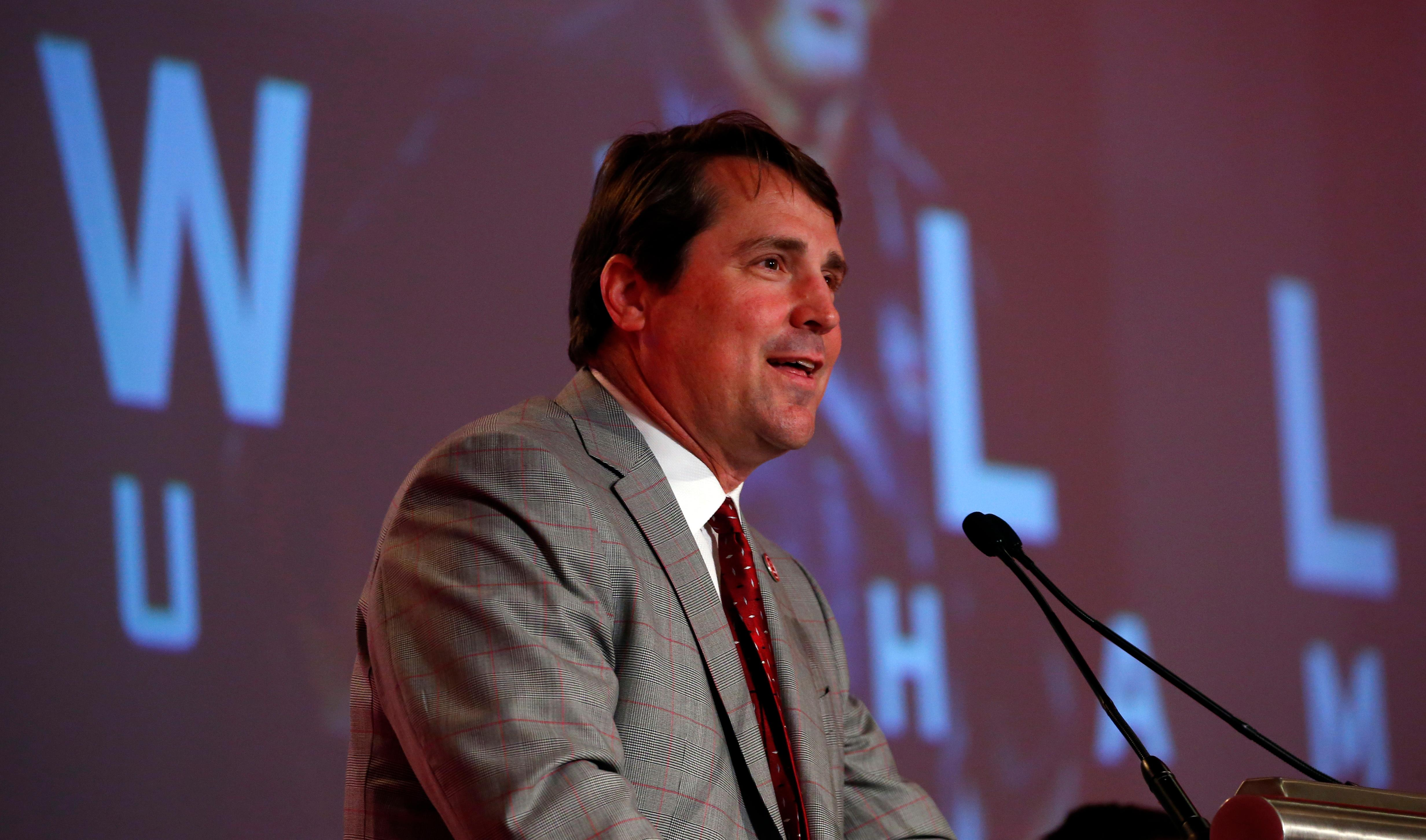 South Carolina NCAA college football coach Will Muschamp speaks during the Southeastern Conference's annual media gathering, Thursday, July 13, 2017, in Hoover, Ala. (AP Photo/Butch Dill)