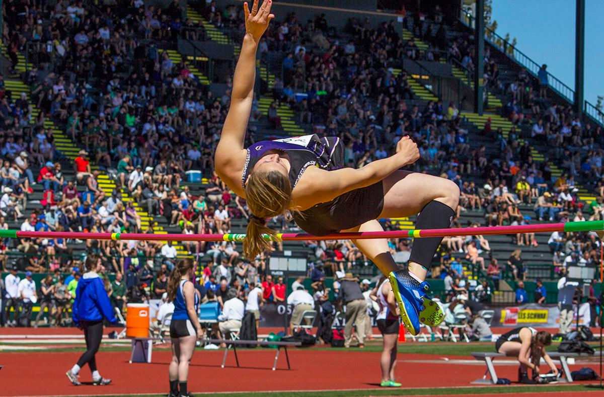 Darian Hageman from Astoria High School wins the 4A Girls High Jump with the height of 5-04.00 at the OSAA Track and Field State Championships at Hayward Field. Photo by Nichole Louchios, Oregon News Lab.
