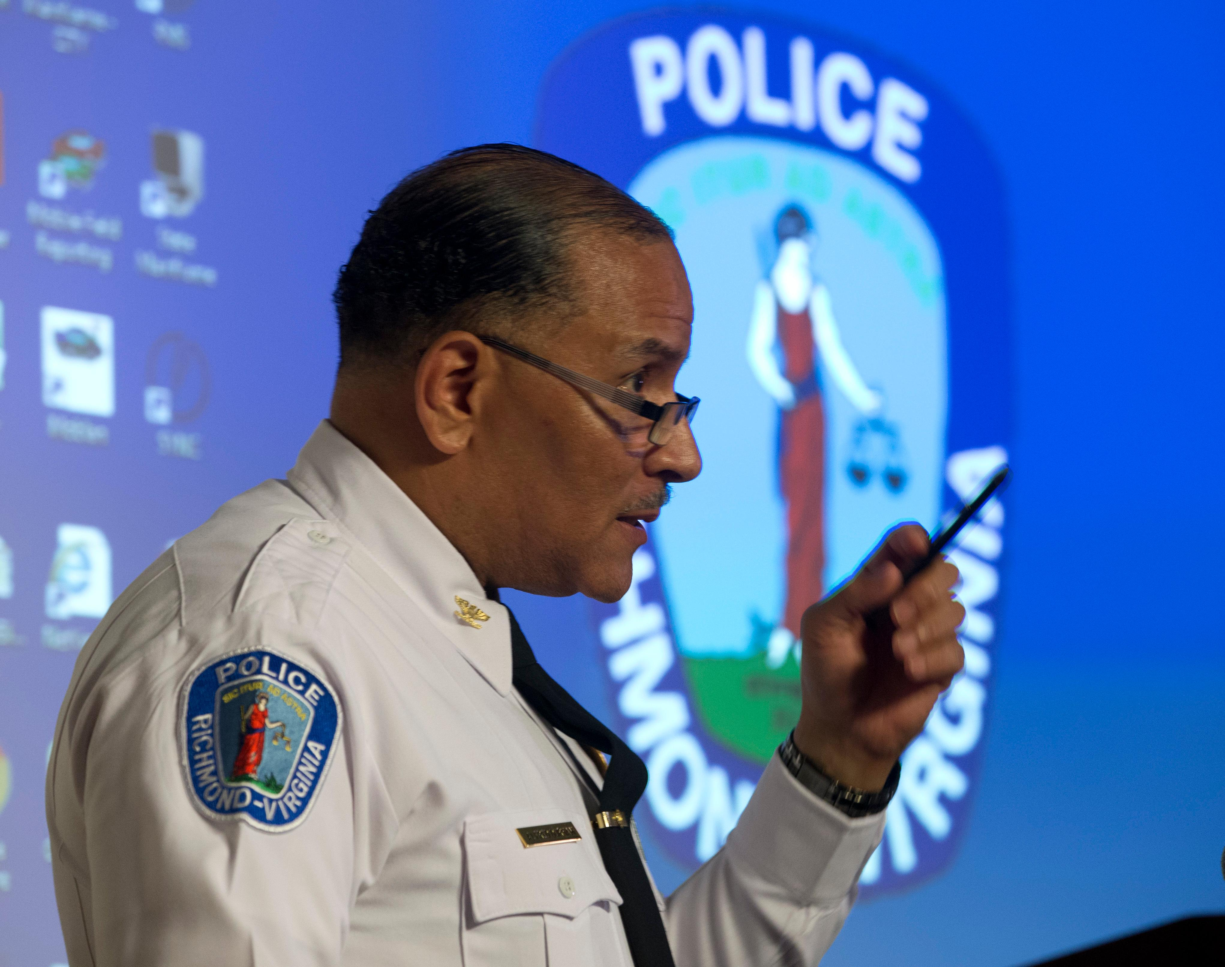 Richmond Police Chief, Alfred Durham, gestures during a news conference in Richmond, Va., Friday, May 25, 2018. Durham released body cam video fo the shooting of Marcus-David Peters last week.  Durham released the video of Marcus-David Peters' fatal shooting earlier this month. The video shows the officer first used a stun gun when Peters approached him. Police say it was not effective and the officer then shot Peters twice in the abdomen. (AP Photo/Steve Helber)