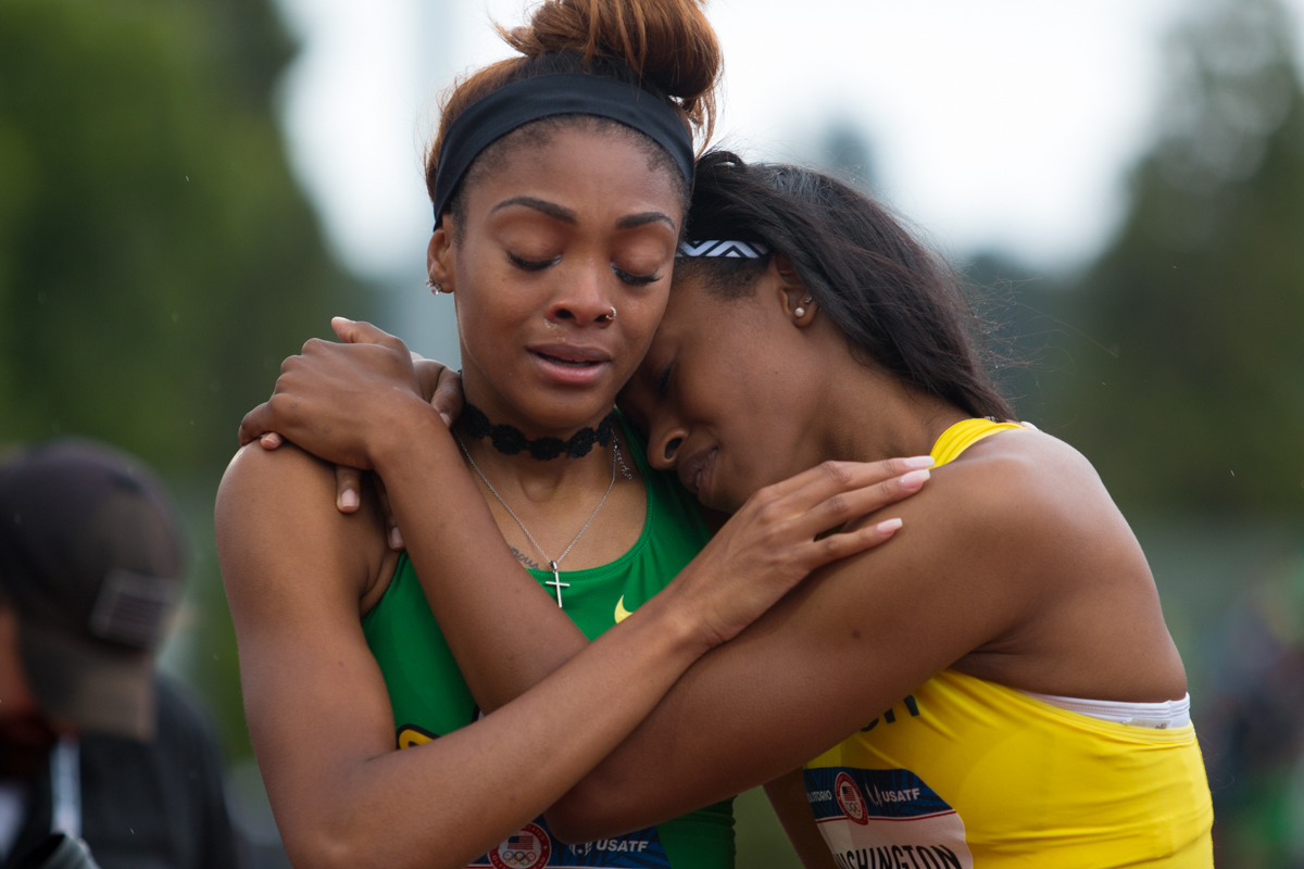 Arianna Washington (right) hugs and congratulates teammate Deajah Stevens (left) after Stevens took 2nd in the 200m dash. Day Ten of the U.S. Olympic Trials Track and Field concluded on Sunday at Hayward Field in Eugene, Ore. Competition lasted July 1 - July 10. Photo by Dillon Vibes