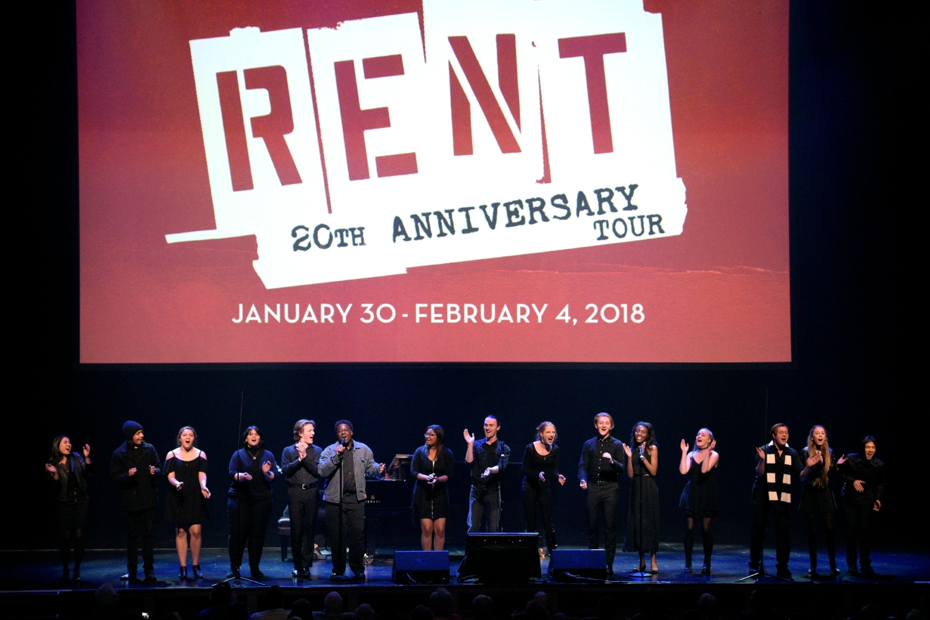 "Cast members from the Las Vegas Academy production of ""Rent"" perform ""Seasons of Love"" during a preview for the Smith Center for the Performing Arts 2017-2018 Broadway series preview Tuesday, Feb. 28, 2017, in Reynolds Hall. (Sam Morris/Las Vegas News Bureau)"