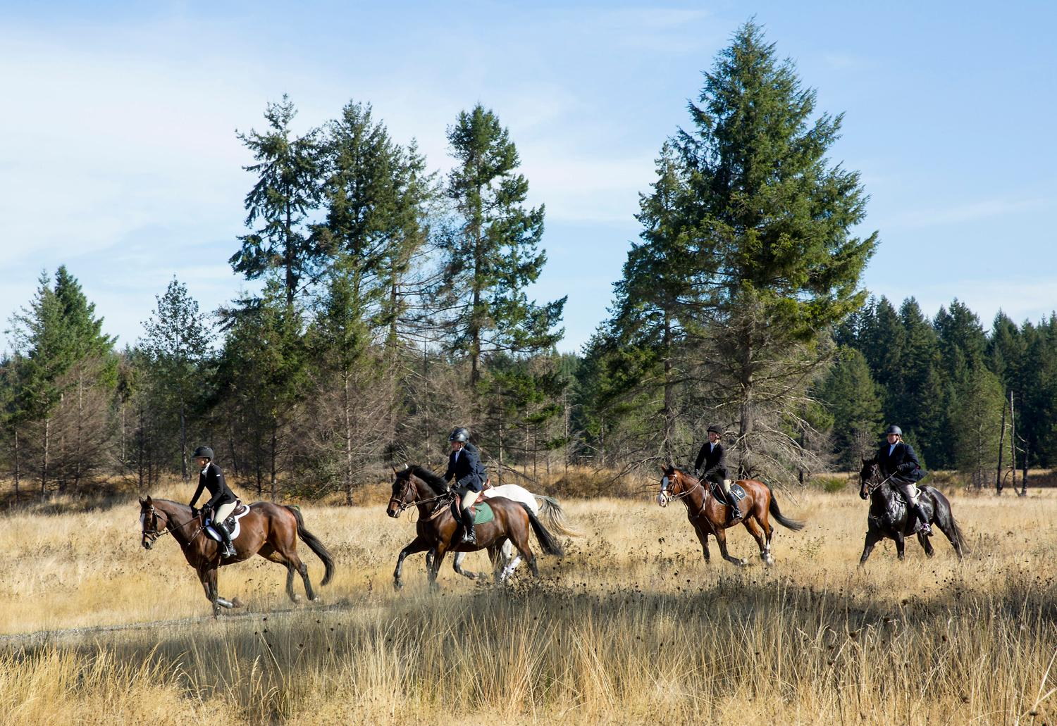 The Woodbrook Hunt Club begins its 91st annual fox hunt near Joint Base Louis McChord. The club uses synthetic fox urine for scent. (Sy Bean / Seattle Refined)