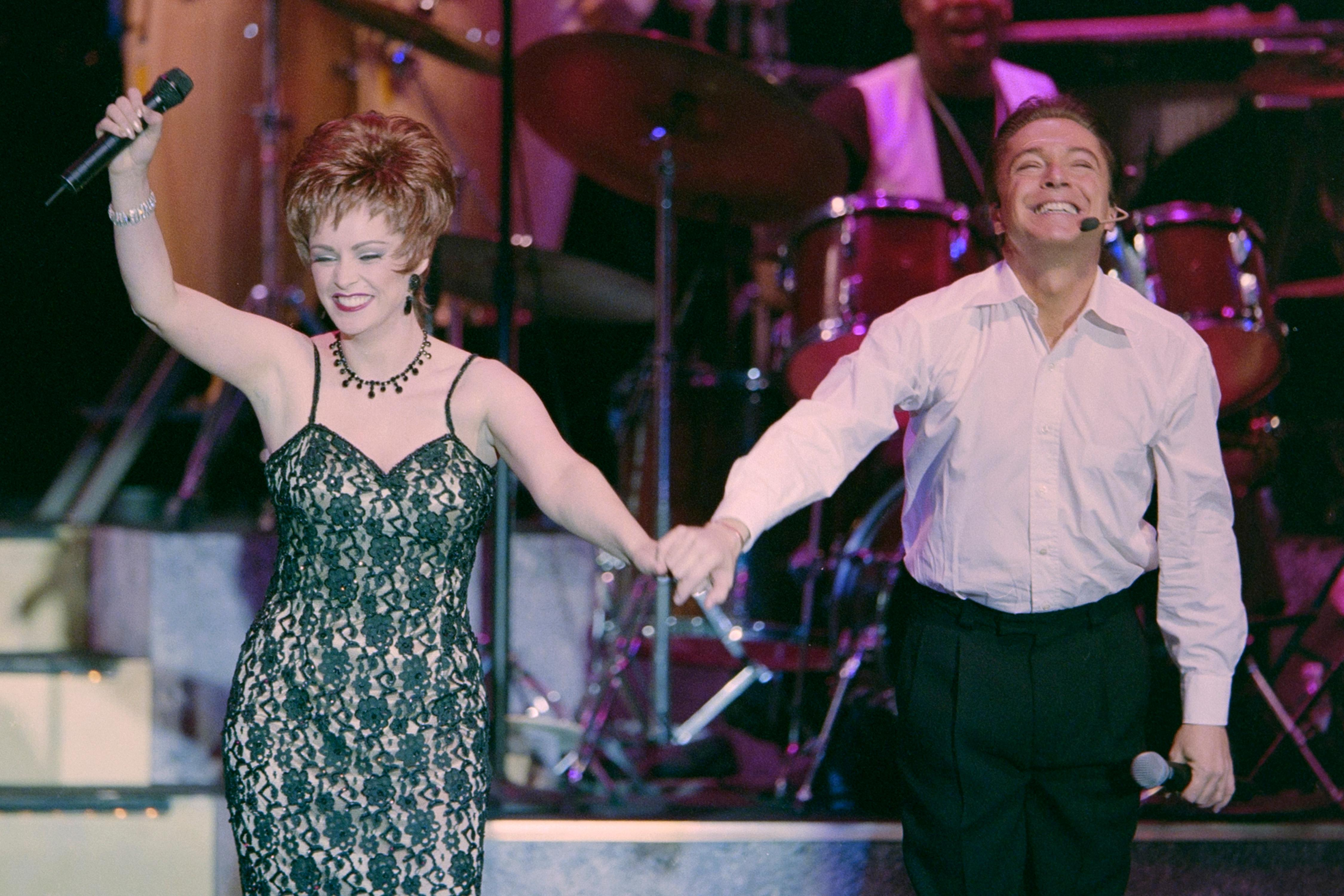 "David Cassidy and Sheena Easton perform during the opening of the show ""At the Copa"" February 3, 2000, at the Rio in Las Vegas. [Glenn Pinkerton/Las Vegas News Bureau]"