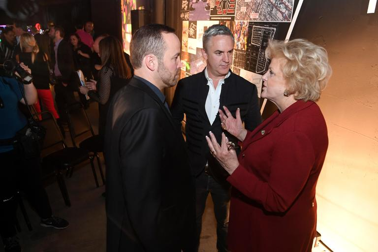 Las Vegas Mayor Carolyn Goodman talks with real estate developer Winston Fisher, left, and designer Michael Beneville during an event announcing the establishment of Area 15, a curated retail, dining and immersive entertainment venue, Thursday, January 18, 2018. CREDIT: Sam Morris/Las Vegas News Bureau
