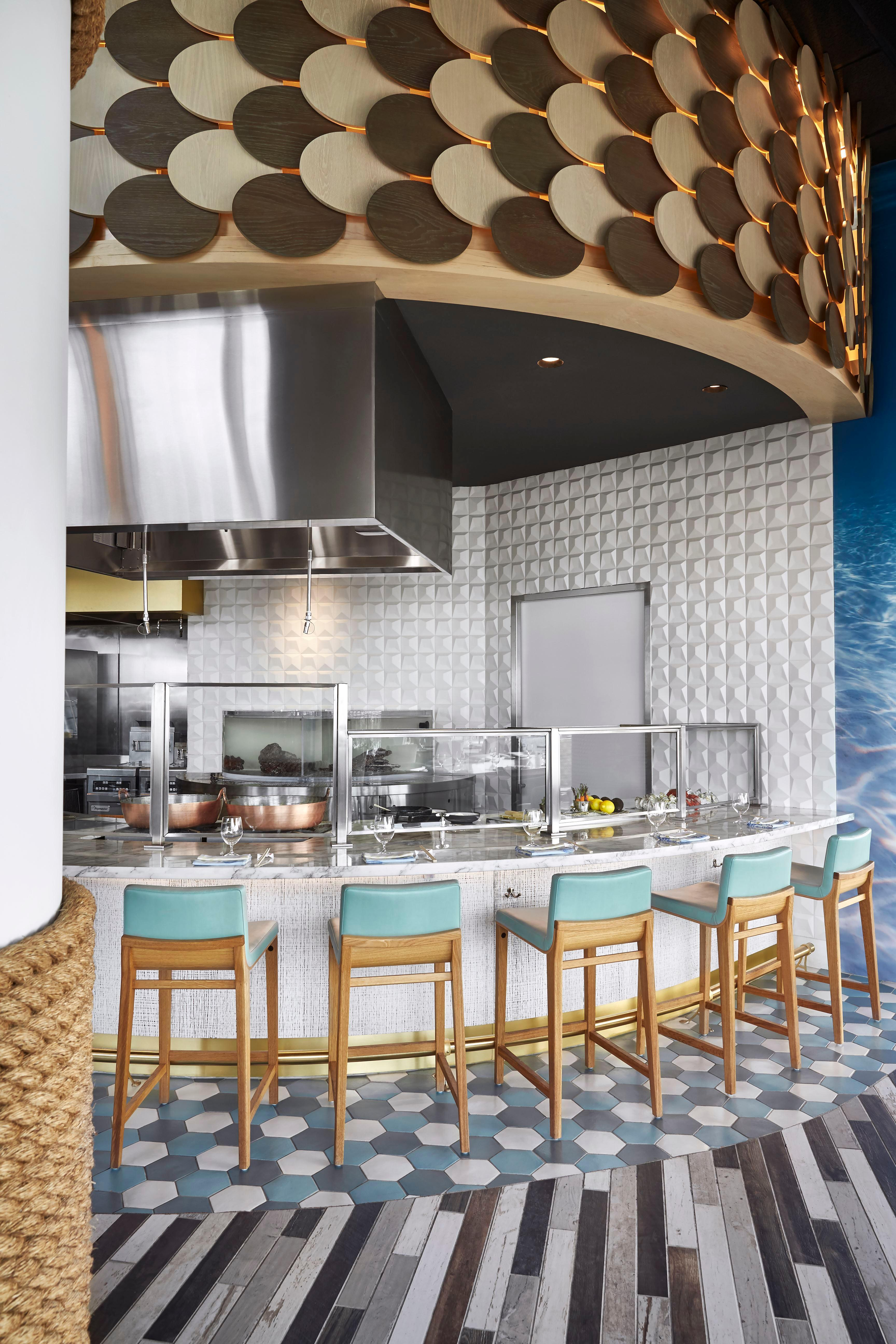 At the 6-seat bar at his outpost at the MGM National Harbor Fish by José Andrés', the Spanish chef was inspired to take classic American fried seafood dishes--clams, fish, oysters--and elevate them to a new level. (Image: Greg Powers)