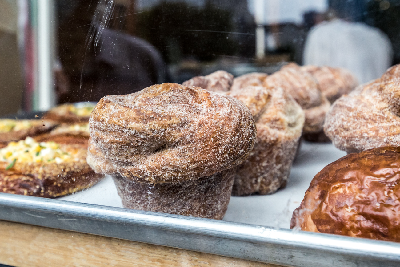 STOP #4: Brown Bear Bakery / ADDRESS: 116 E 13th Street (45202) / The fourth stop was a few blocks away at Brown Bear Bakery. Co-owner Chaske Haberkos greeted everyone at the door and discussed the bakery's history while the group enjoyed a cinnamon roll. / Image: Catherine Viox // Published: 9.26.20