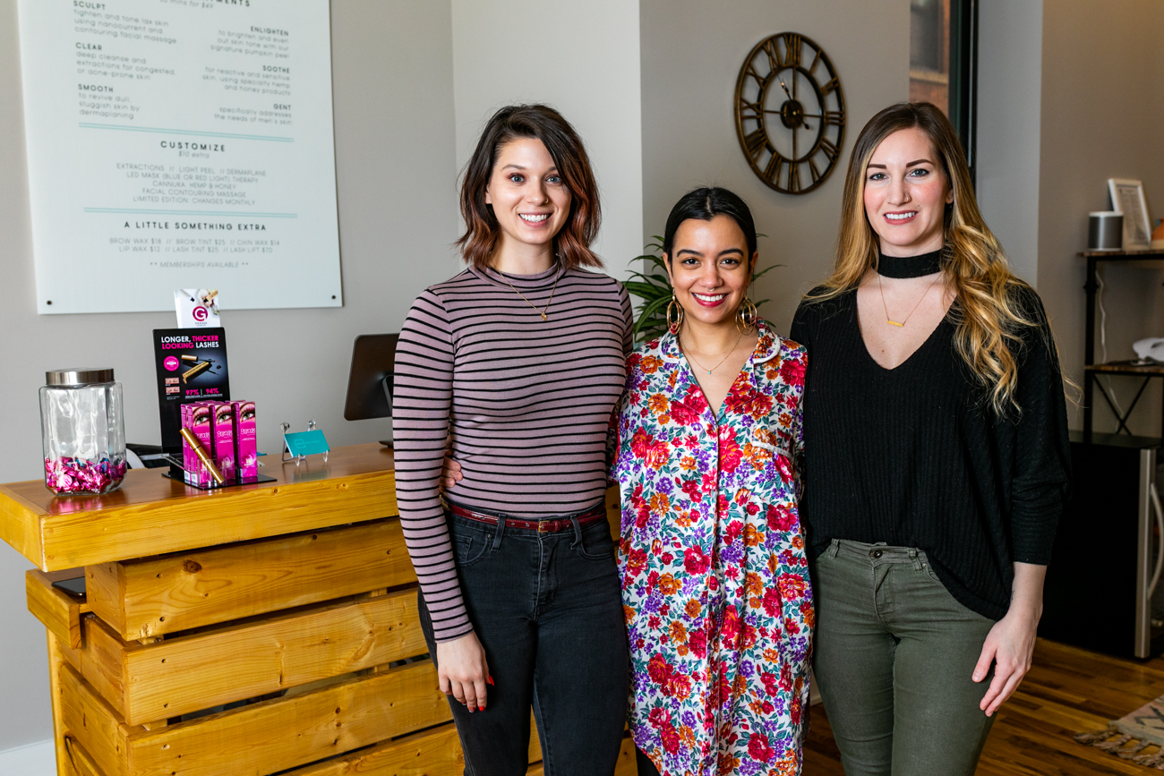 Oasis Face Bar staff Emily Zook, Jessica Tokijkla, and Christy Schoenling{ }/ Image: Amy Elisabeth Spasoff // Published: 3.17.19