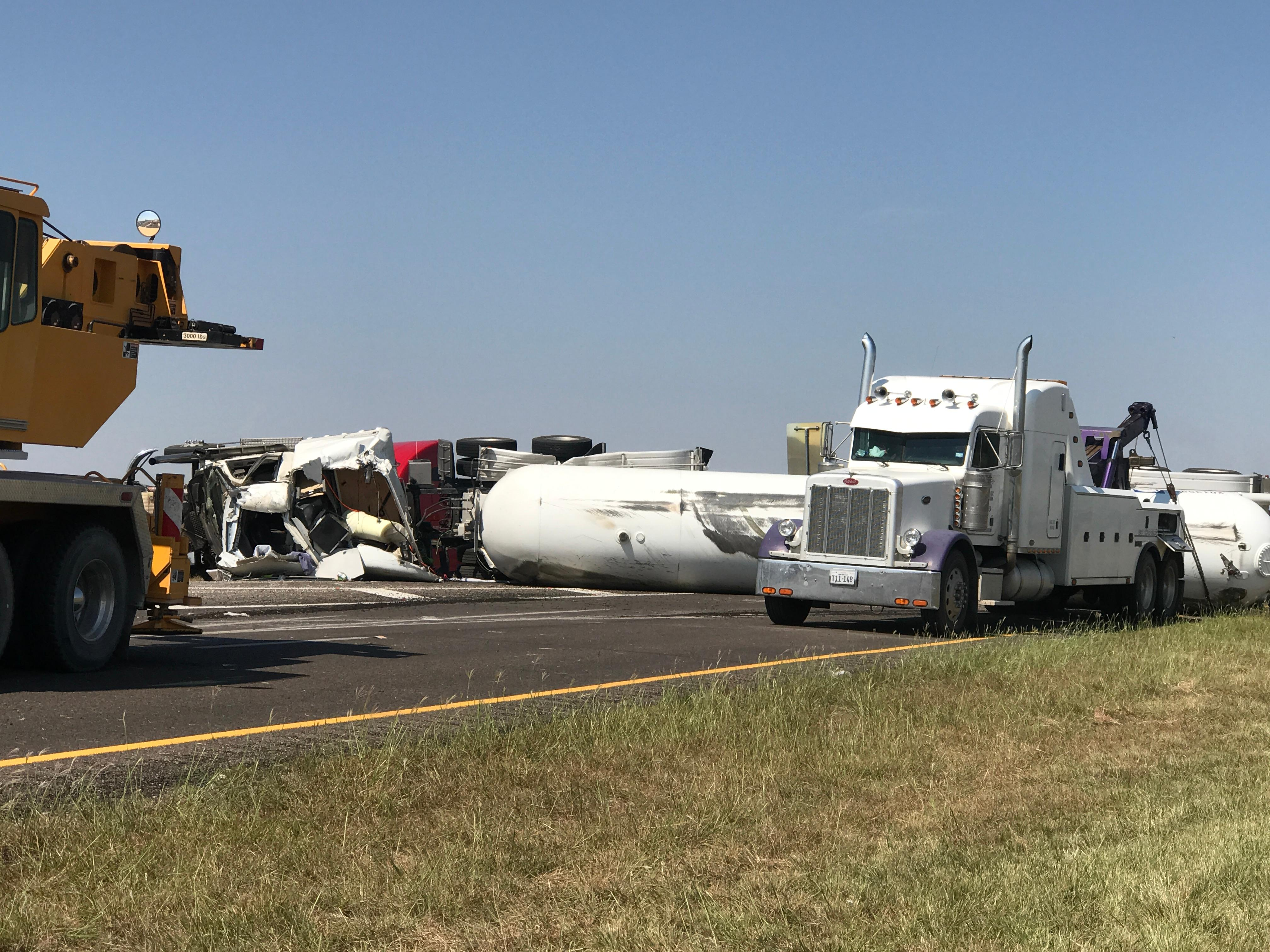 Propane truck flipped over on eastbound I-20 at the exit for Loraine in Mitchell County.