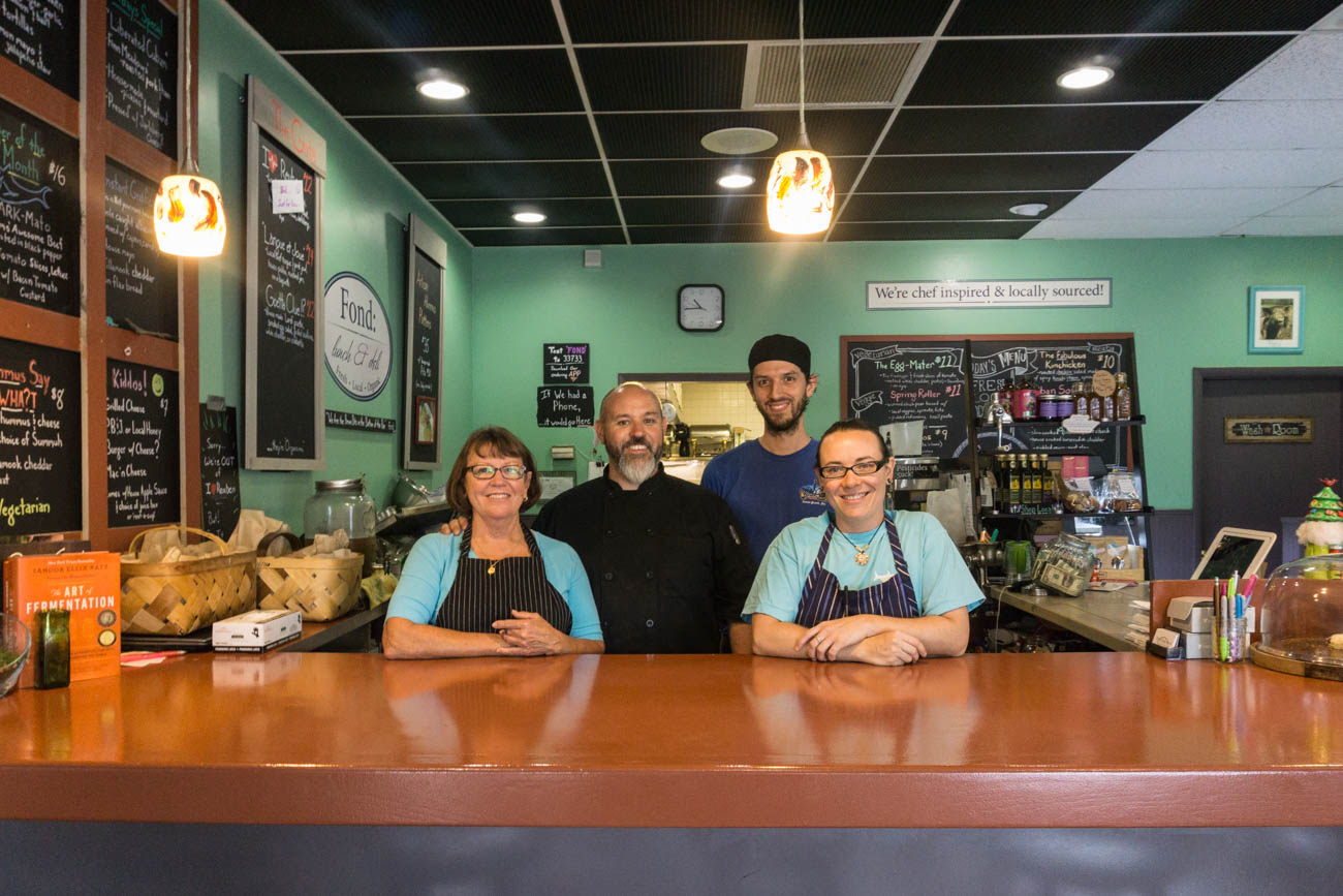 Elaine Snide (HR), Ethan Snider (chef and owner), John Wales (cook), and Holly Williams (hummus-maker and cook) / Image: Sarah Vester // Published: 8.7.17