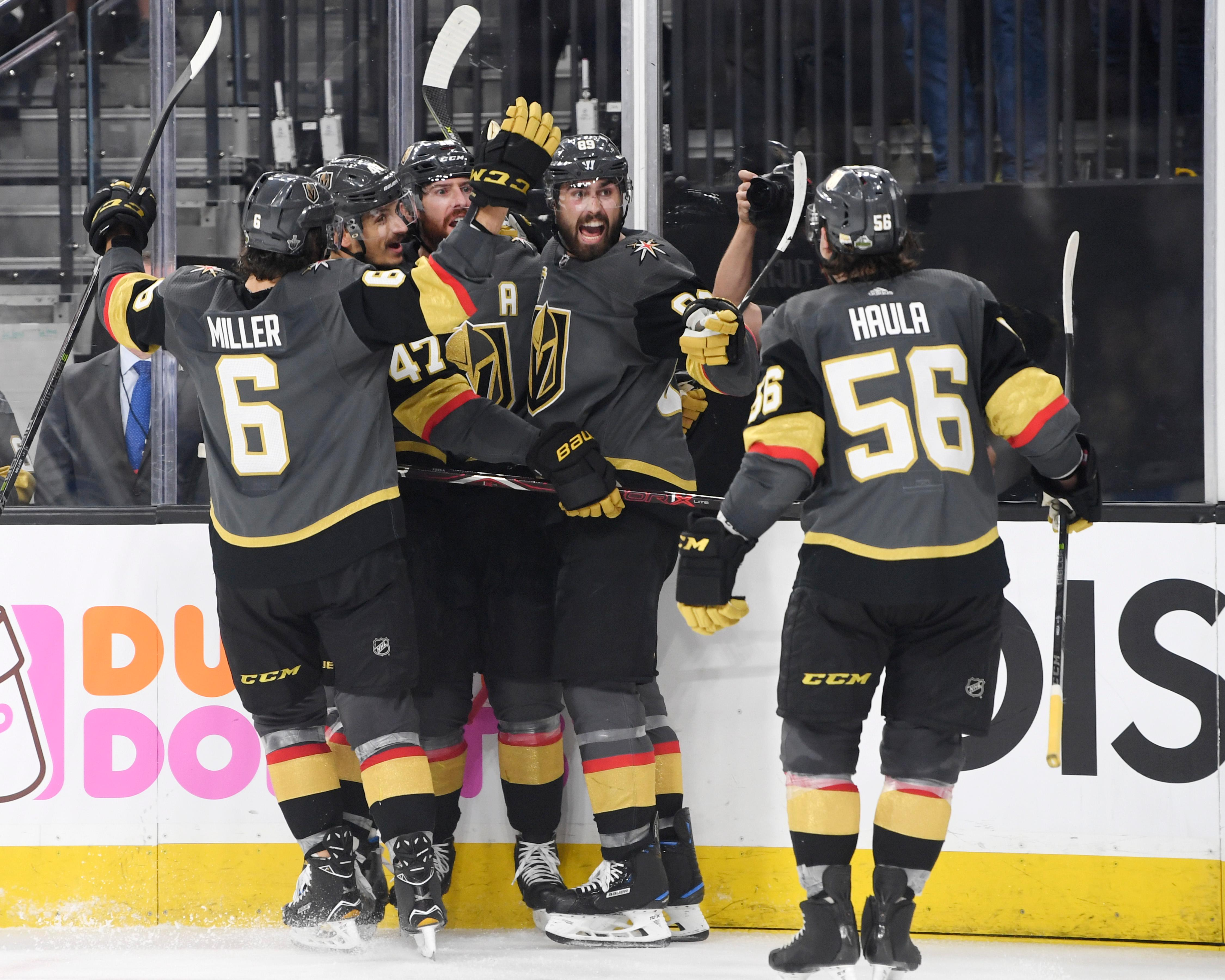 Vegas Golden Knights players celebrate James Neal's goal against the Winnipeg Jets during Game 3 of their NHL hockey Western Conference Final game Wednesday, May 16, 2018, at T-Mobile Arena. CREDIT: Sam Morris/Las Vegas News Bureau
