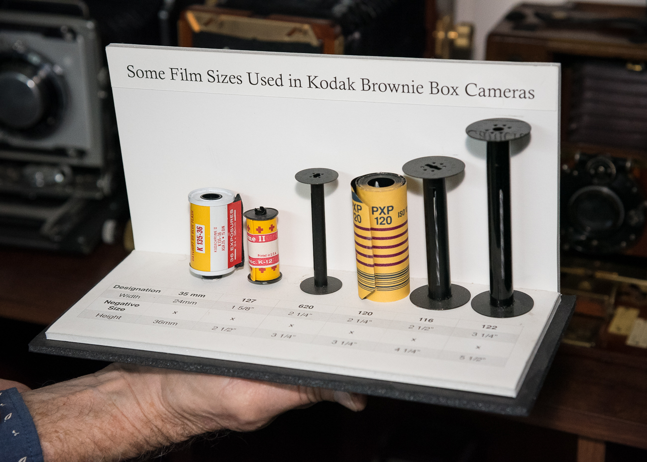 A diagram Tim made of different sizes of film used in Brownie Box cameras / Image: Phil Armstrong, Cincinnati Refined // Published: 2.25.19