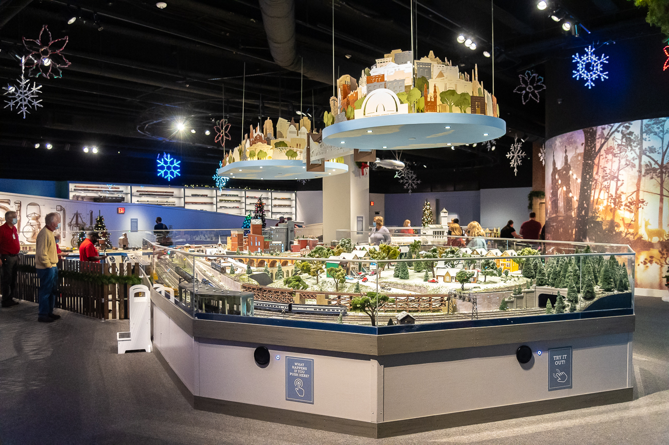 Duke Energy gave the trains to the Cincinnati Museum Center in 2011 for safe keeping. Since the trains returned to the museum in 2018, modern additions were added to the exhibit. Holiday Junction, as it's called, features not only the Duke Energy Holiday Trains, but also a collection of other to-scale trains that roll around miniature scenes. / Image: Phil Armstrong, Cincinnati Refined // Published: 11.15.20